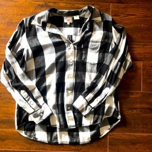 Levi's Boyfriend Fit Black & White Plaid Shirt